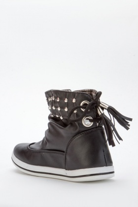 Studded Trim & Tassle Ruched Ankle Boots