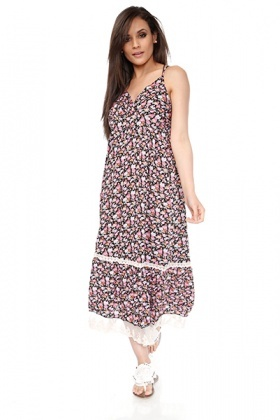 Lace Trimmed Rose Pattern Cotton Dress