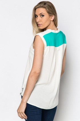 Colour Block Sleeveless Blouse