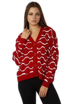 Wave Pattern Trapeze Cardigan