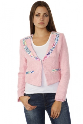 Sequined Lapel & Pockets Boucle Jacket