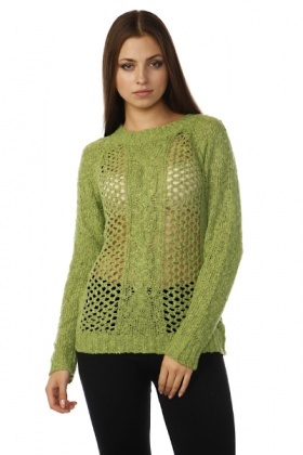Perforated Cable Knit Pullover