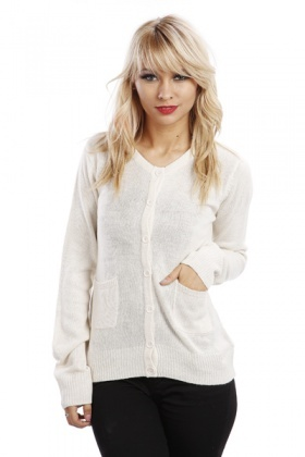 Wool Blend Button Front Cardigan