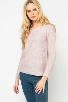 Metallic Elbow Patch Pastel Jumper