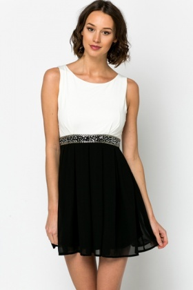 Two Tone Embellished Waist Dress