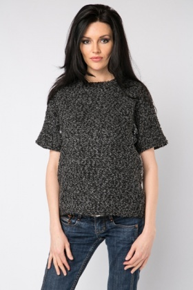 Speckled Contrast Zip Back Top