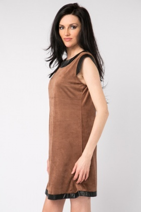 Faux Leather Trim Shift Dress