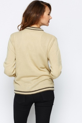 Contrast Trim Gold Button Cardigan