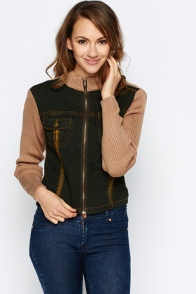Denim Knit Sleeve Zip Jacket
