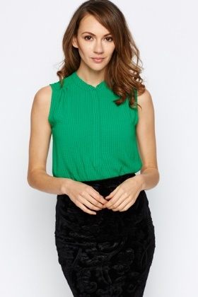 Check Textured Green Blouse