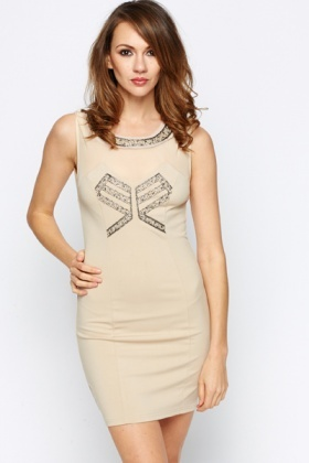 Mesh Insert Embellished Bodycon Dress