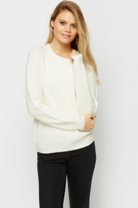 Suedette Elbow Patch Ribbed Sweater