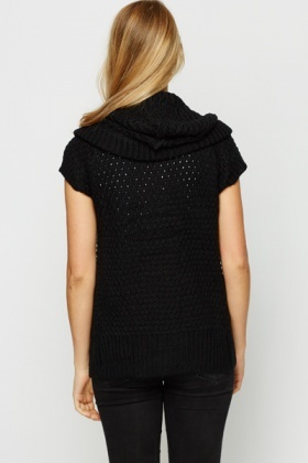 Perforated Short Sleeve Cardigan