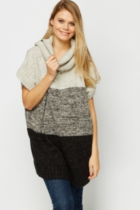 Roll Neck Stripe Knit Longline Jumper