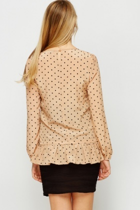 Cut Out Polka Dot Blouse