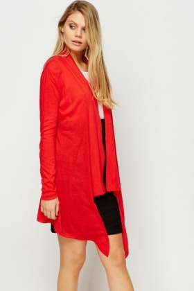 Open Front Red Waterfall Cardigan
