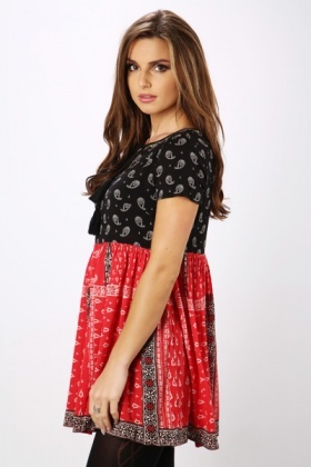 Contrast Paisley Tunic Dress