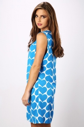Blue Heart Shift Dress