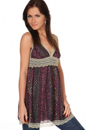 V-Neck & V-Back Lace Trim Tunic