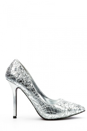 Embellished Metallic Court Shoes