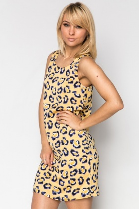Cut-Out Back Bright Animal Print Dress