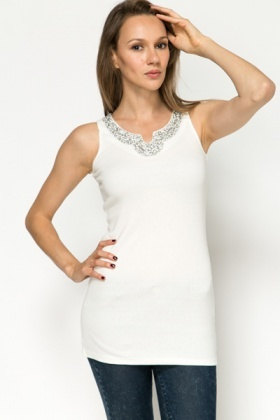 Diamante Embellished Neckline Top