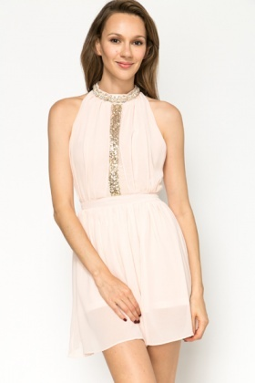 Embellished Trim Chiffon Dress