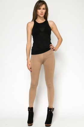 Cotton Blend Brown Leggings