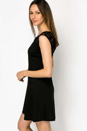 Lace Insert Black Dress