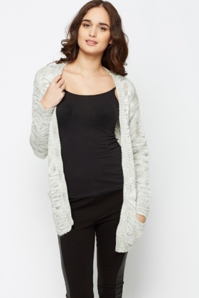 Metallic Open Front Cardigan