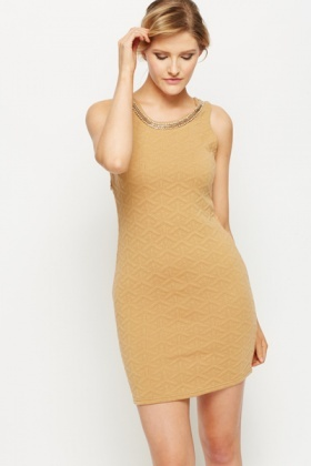 Embellished Neckline Quilt Effect Dress
