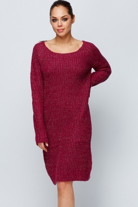 Metallic Knit Jumper Dress