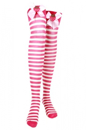 Over-The-Knee Stripe Sock With Bow