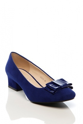 Thick Heel & Patent Bow Pump Shoes