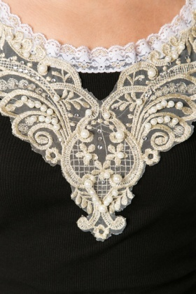 Pearl & Lace Applique Top