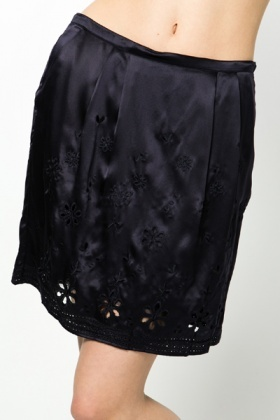 Silk Cut Out & Embroidered Skirt