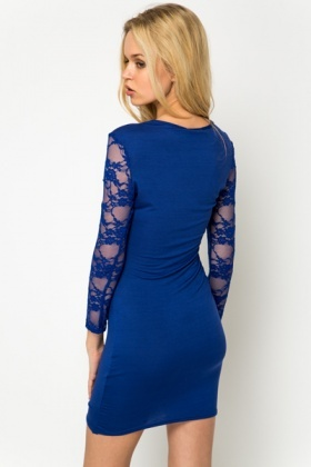 Lace Sleeve Keyhole Cut-Out Dress