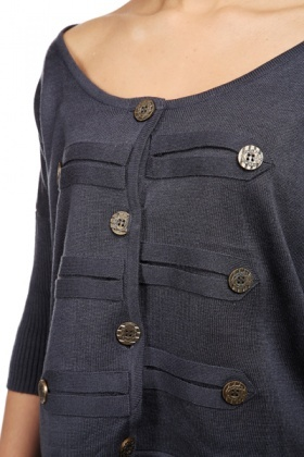 Military Style Knit Cardigan