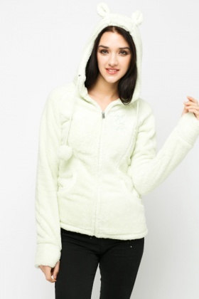Soft Fleece Animal Ear Hooded Jacket