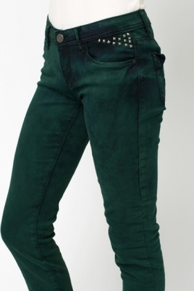 Stud Embellished Dark Green Trousers