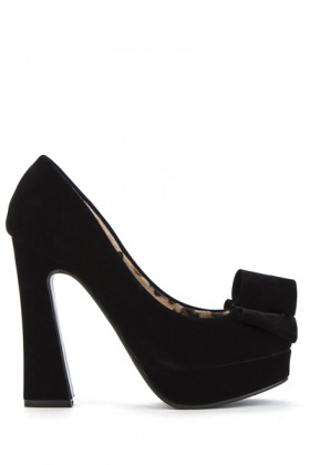 Suedette Block Heel Bow Shoes