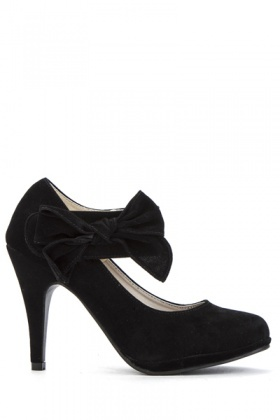 Bow Velcro Strap Heel Court Shoes