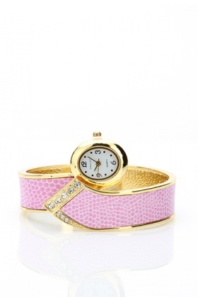 Diamante Trim Textured Watch
