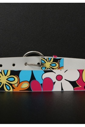 Bright Abstract Flower Pattern Belt