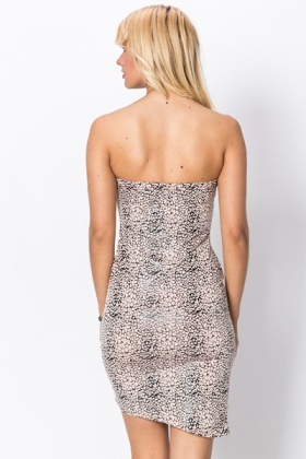 Wax Coated Animal Print Bandeau Dress
