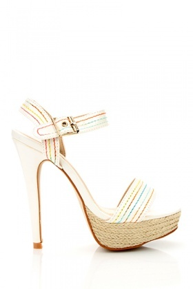 Threaded Neon Design Espadrille Sandals