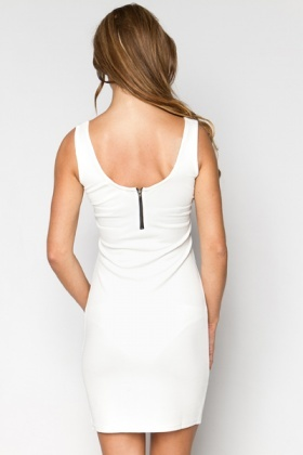 Zip Back Textured Dress