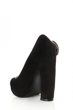 Curved Heel Suedette Bow Shoes