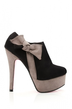 Two Tone Bow Ankle Boots