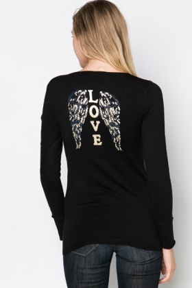 Encrusted Back V-Neck Pullover